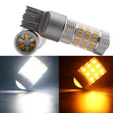 2Pcs White&Amber T20 7443 4014 60SMD LED Bulb Front Turn Signal Lamp 12V Bulbs