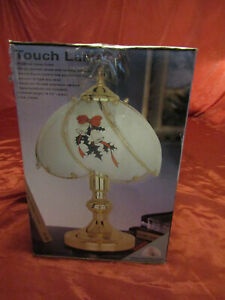 """Christmas Bells & Holly Theme w/Gold Base Desk Table 3-way Touch Lamp 14.5"""" Tall"""