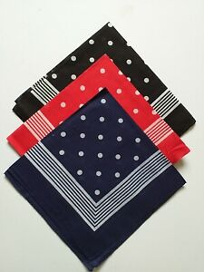 3 Pack 100% Cotton Bandana Scarf Headband  Black / Red / Navy Blue 54cm x 54cm