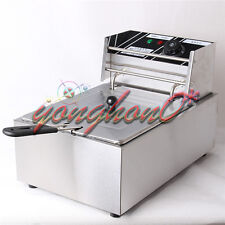 6L Single Cylinder Electric Deep Fryer Frying Oven For Potato Chicken 220V NEW
