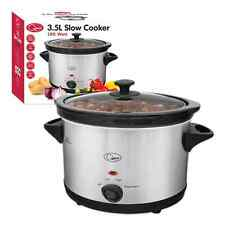 NEW 3.5 Ltr Premium Sliver Slow Cooker Pot with Removable Ceramic Inner Bowl