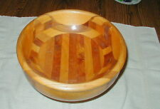 VINTAGE WOOD INLAY FRUIT BOWL WITH PEDESTAL, PARQUETRY, NICE!