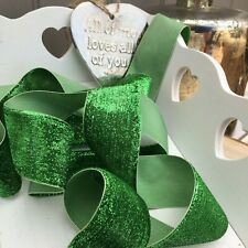 Sparkly Green  Neat Edge Velvet Ribbon Trim Craft Bows Christmas Wreaths 1Mtr