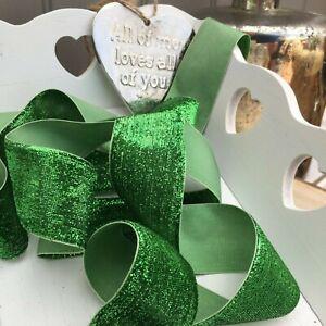 Sparkly Green  Neat Edge Velvet Ribbon Trim Craft Bows Christmas Wreaths 1Mtr