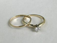 14k YG Ladies Estate Solitaire Classic Diamond Wedding Set~Size 6~Free Shipping!