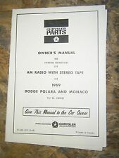 1969 DODGE POLARA MONACO AM STEREO TAPE RADIO MODEL OWNERS MANUAL SCHEMATIC