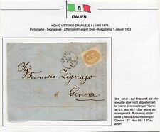 1865 REGNO SEGNATASSE 10 CENTESIMI SU LETTERA PER CITTA' GENOVA 27/11 C/3976