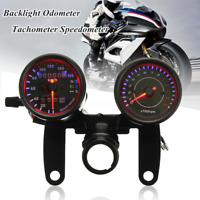 Black Universal Motorcycle LED Light Odometer & Tachometer Speedometer Gauge