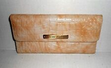 """Adrienne Vittadini Beige Tan Embossed Leather Fold Out Envelope Wallet - 7"""" x 3"""""""