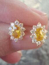 Yellow Topaz Oval Cut & White Sapphire Stud Earrings 14kt Solid Yellow Gold