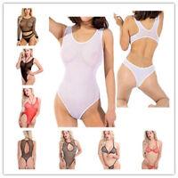 Fishnet Sleepwear Womens Sexy Mesh Lingerie G-String Underwear Bodysuit Babydoll