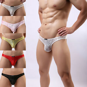 Men's Sissy Briefs Panties Underwear Sexy Lace Thongs Trunks Shorts Underpants