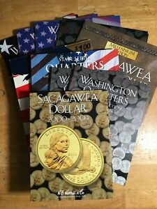 Lot of 10 Coin Collecting Folders, Empty, Whitman, Harris, East West, good cond