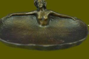 Arts & Crafts Copper & Cast Bronze Ashtray Art Nouveau Nude Female Bronze Figure