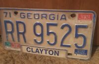 VTG 1971 Georgia License Plate Clayton County 70s Metal RR 9525