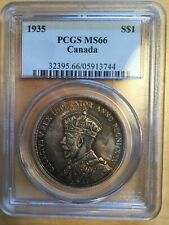 1935 Canada Graded MS-66 Silver Dollar George The Fifth Nicely Toned