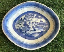 New listing Antique Chinese Canton Export Blue White Scalloped Dish 19th c