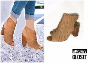Sam Edelman 8 Tan Ankle Booties Perorated Peep Cut Out Lace Up Ennette $150