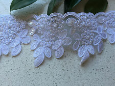 1 Yrd Beaded Lace Trim  white  for invitation fabric, new