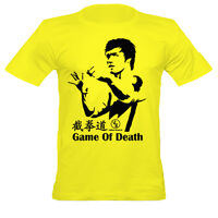 Men's Bruce Lee Inspired Game Of Death Fitted T Shirt, Crew Neck/ Yellow