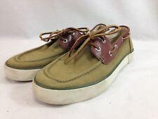 Polo Ralph Lauren Boat Shoes Men 9 M Olive Green Canvas Leather Lace Orange Pony