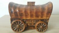 Vintage Western Wagon Ceramic Piggy Bank Cowboy Simulated Wood