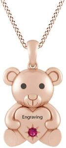 Simulated Birthstones Cute Teddy Bear Heart Necklace  14k Rose Gold Over Silver