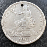 1877 Trade One Dollar $1 Circulated holed #28719