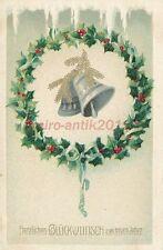 AK, Prägekarte, Neujahrskarte - Neujahrsglocken im Tannenkranz; 5026-76
