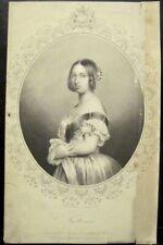 Antique Print QUEEN VICTORIA Oval Portrait Engraving 1860 England Ireland Pound