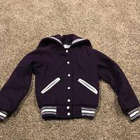 Vtg Admiral Sportswear Womens S Purple Lettermen Jacket Wool Button Up A50