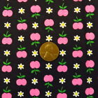 1970s Novelty Fabric Pink Apple Daisy Floral Vintage Cotton