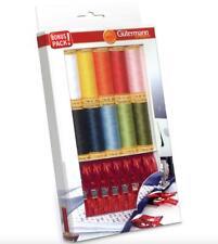 Gutermann Cotton Thread Set + 8 x Fabric Clips - 10x 100m Reels Mix Colours