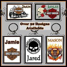 Personalised Harley Davidson Key Ring - Any name - 7x5cm Keyring, Chain - Gift
