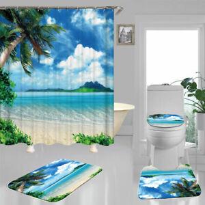 Blue Sea Beach Island Shower Curtain BathMat Toilet Cover Rug Bathroom Decor