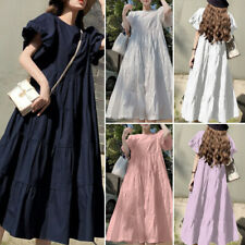 Minivestido feminino moda verão vestido casual Longo Manga Bufante Vestido Camisa sólido Solto Maxi vestido de verão Plus