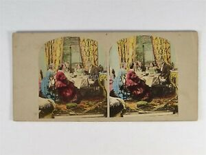 Rich Family Having A Meal - c1850s Genre Hand Tinted Stereoview BY James Elliott