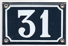 Old blue French house number 31 door gate plate plaque enamel metal sign steel