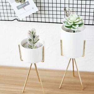 2Pcs Iron Plant Vase Stand Garden Decor Ceramic Flower Pot Shelf Rack Gold