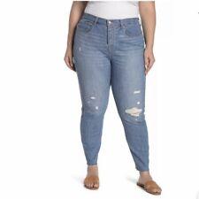 Levis Women's Plus Size 22W Blue Skinny Jeans Button Fly Distressed Raw Hem