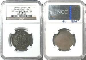 RARE! Germany 1876 2 Mark Pattern in Copper, Schaaf 2M/G4, NGC MS62BN
