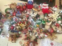 Christmas Ornaments Flocked Vintage Wooden Germany Hong Kong Japan Lot of 150+