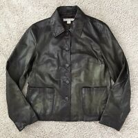 J. Crew Size S Genuine Leather Button Front Fully Lined Jacket In Brown Womens