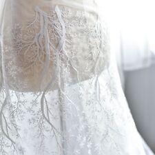 Lace Fabric White Snowflake Embroidered Mesh Wedding Dress Decor Veil Gauze DIY