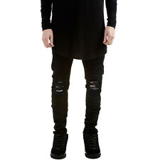 Men's Ripped Skinny Biker Jeans Destroyed Frayed Distressed Slim Fit Denim Pants