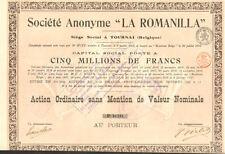 """Societe Anonyme """"La Romanilla"""" > Belgium stock certificate"""