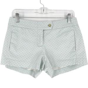 J Crew Women's Cotton Blend Stretch City Fit Polka Dot Shorts White Blue Size 2