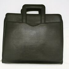 Vtg Day Timer Leather Planner Organizer Folio Attache With Handles Pockets Black