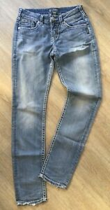 Damen Jeans SILVER Suki W 28/ L 31, blau, used Look/ faded