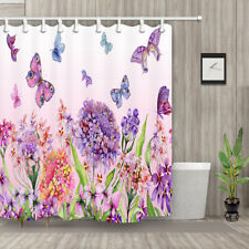 Butterfly and Purple Flower Shower Curtain Bathroom Decor Waterproof Fabric 71in